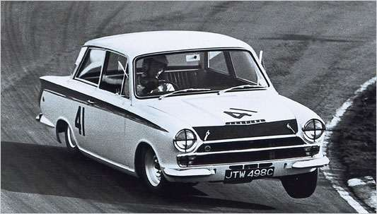 Jim Clark racing in his Lotus Cortina