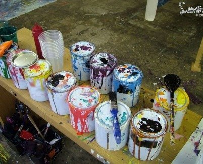 cans of enamel paints