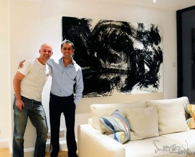 Black abstract art on a client's wall