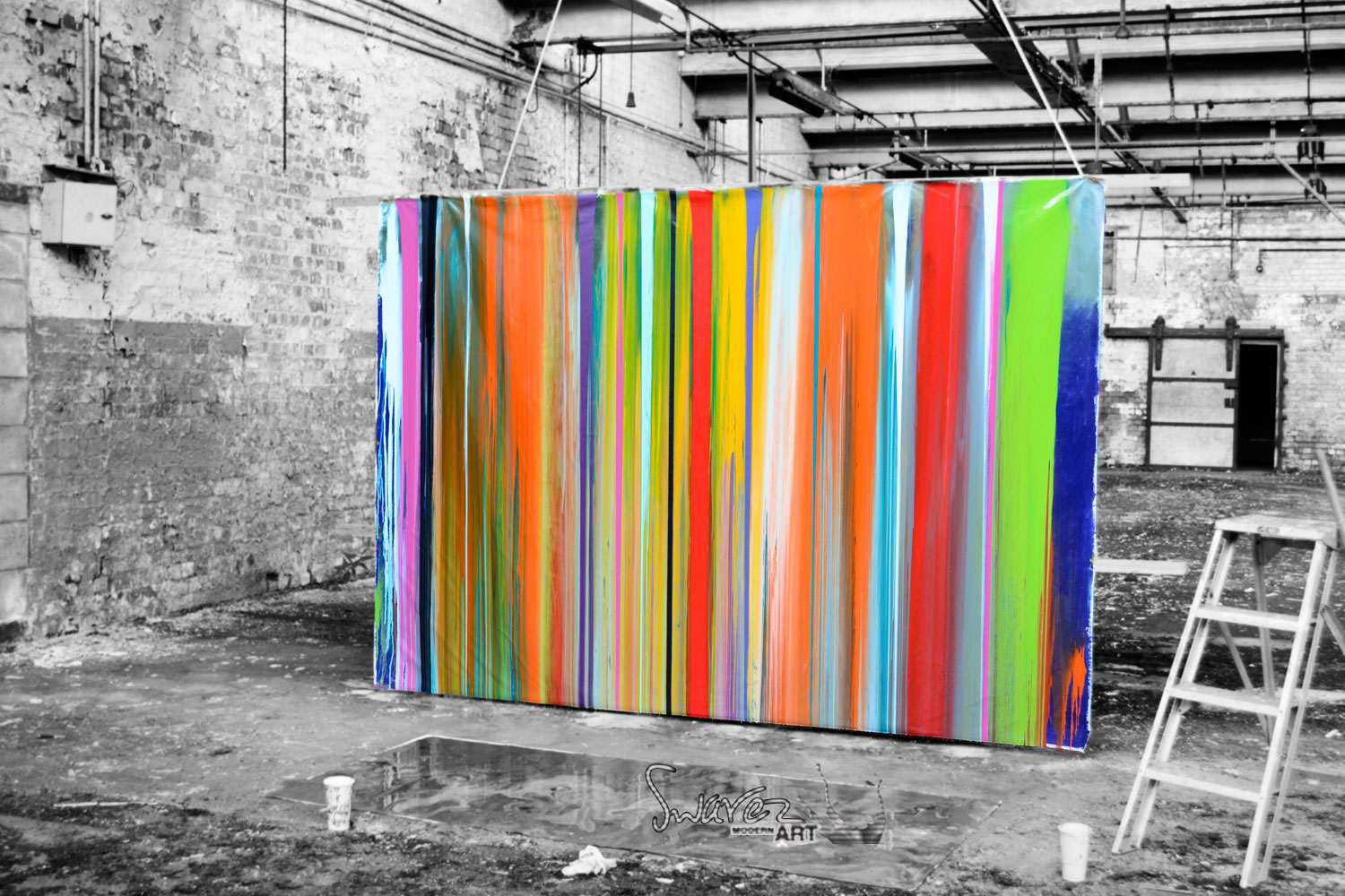 Large striped modern art