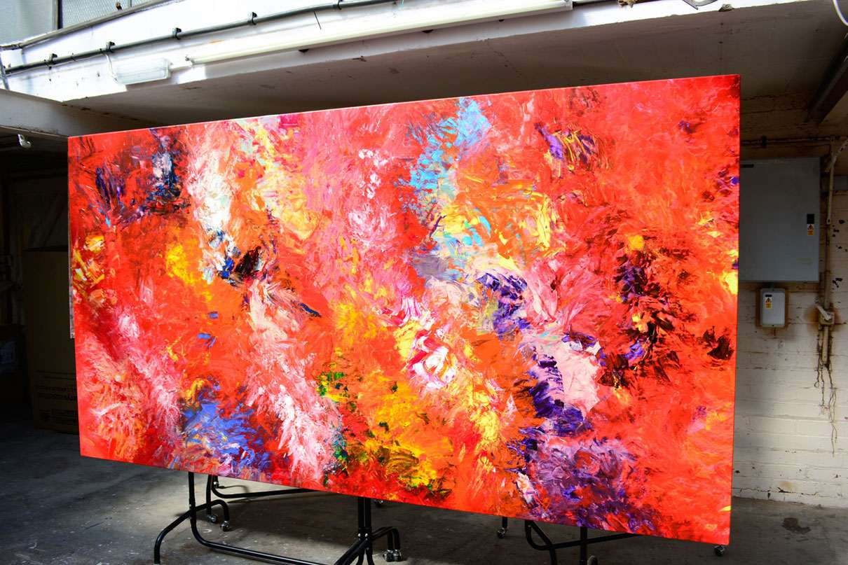 Big red and yellow acrylic artwork