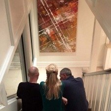 Sat on stairs looking at art