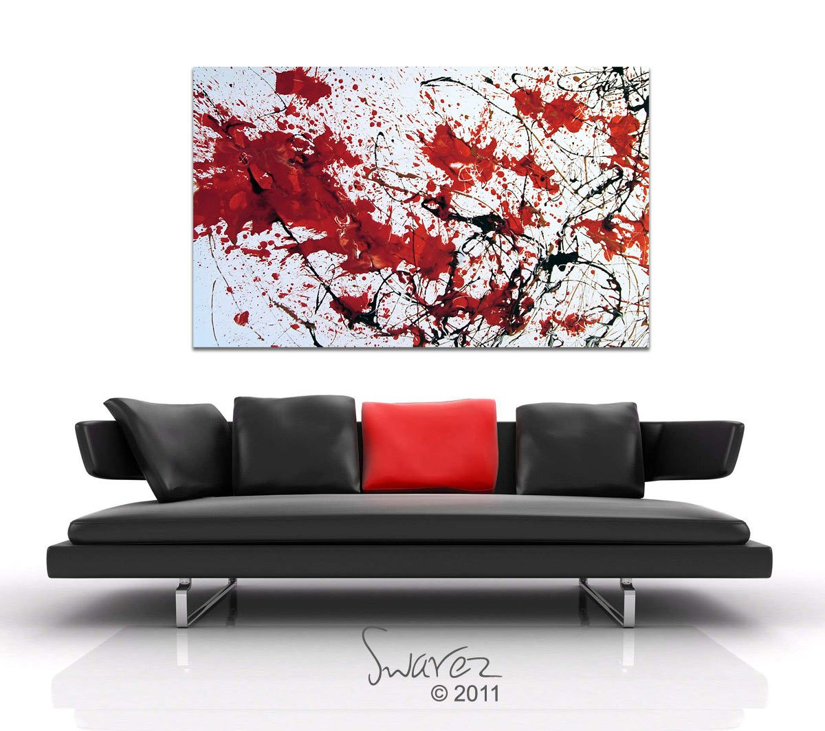 Contemporary red and black painting