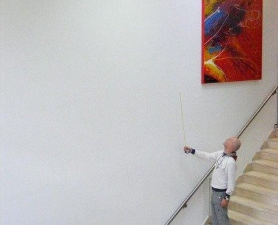 Hanging a big painting in a stairwell