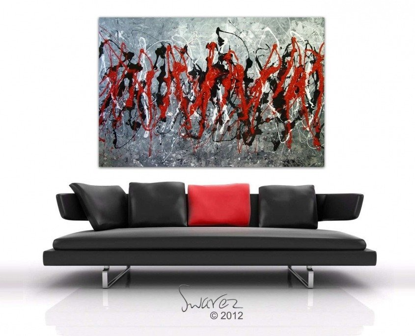 Black sofa red art
