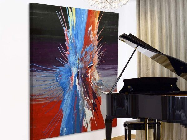 Piano with a big abstract painting