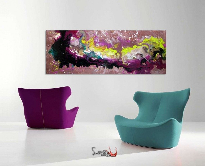 modern sofas and abstract art