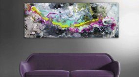 modern art and purple sofa