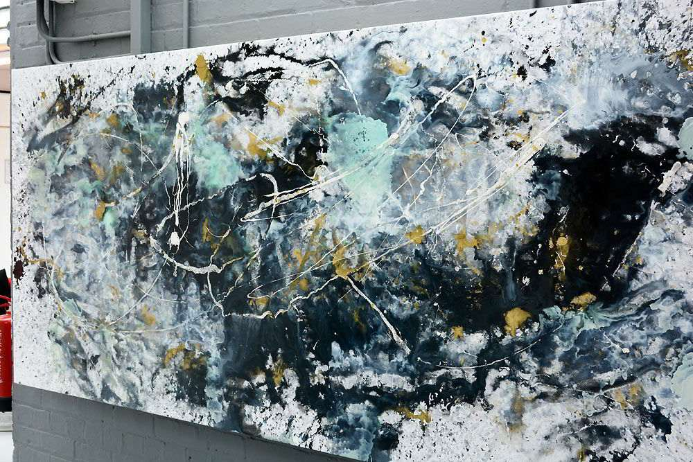 Big Art In Black, Gold, Whte Paints  Bad Day At Black Rock-6579