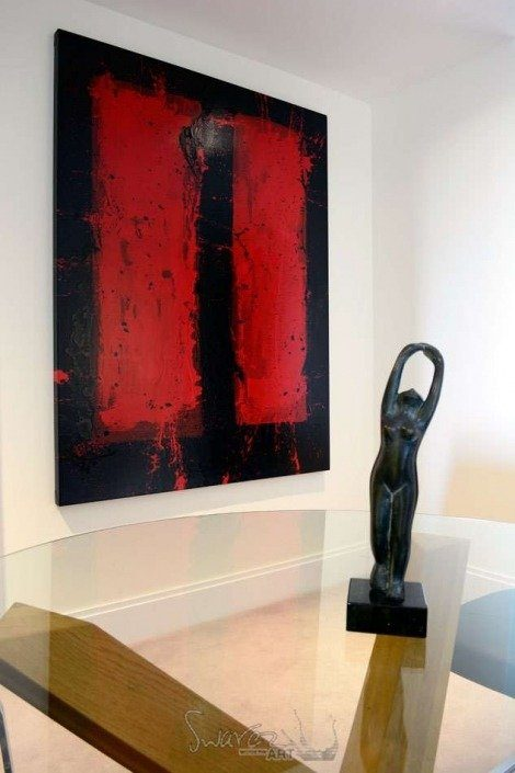 large Rothko-esque original art in red and dark grape