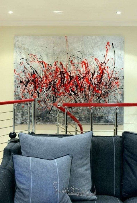 Big drip painting in red and black