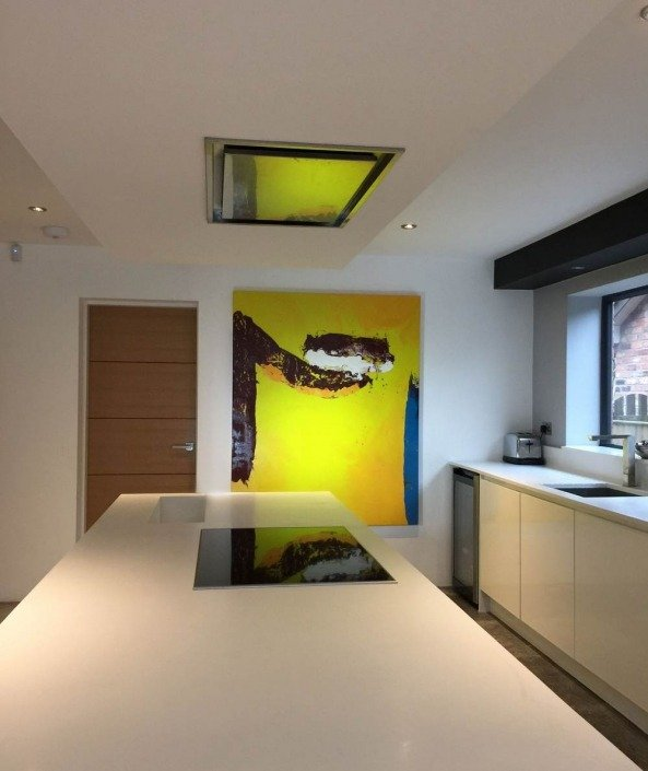 Yellow art in a kitchen