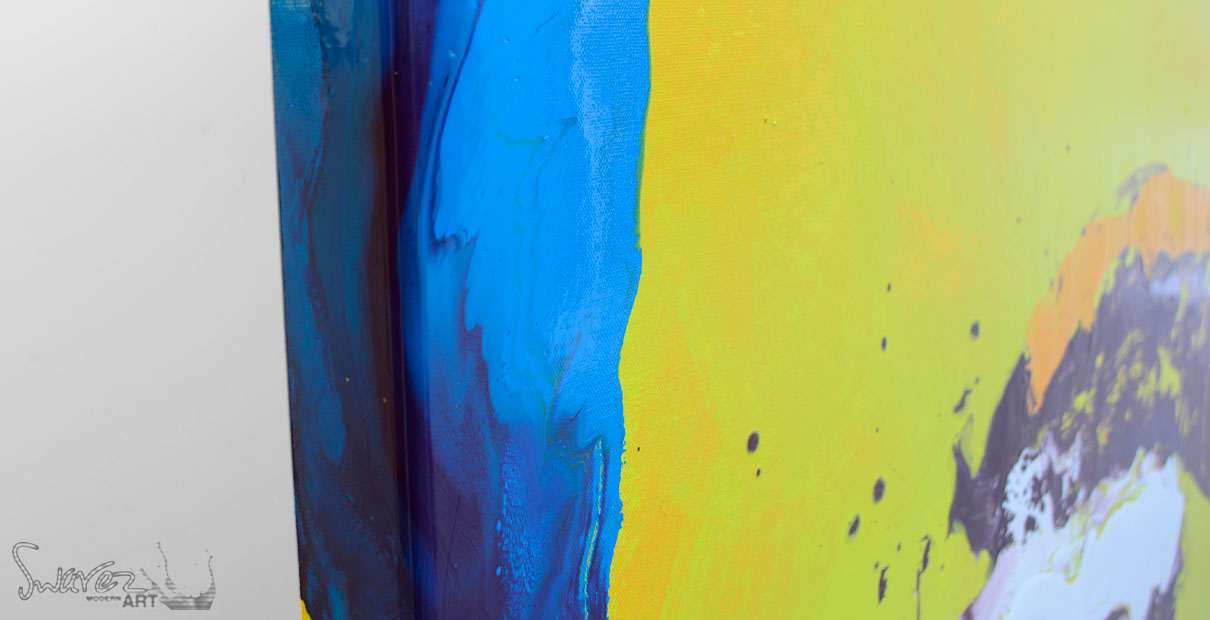 Paint bending round the corner of a canvas