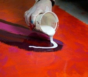 pouring white paints