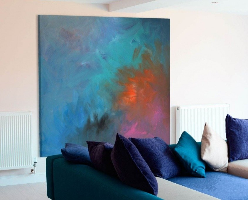 Square painting in a living room