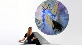 large round canvas painting