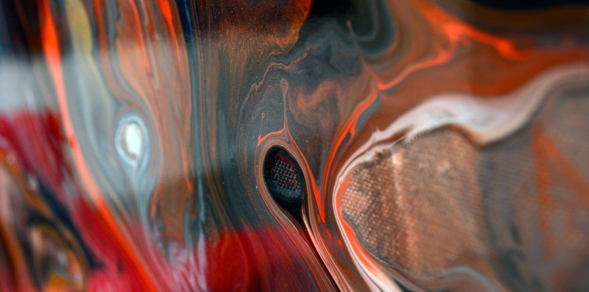 swirling orange and dark colours