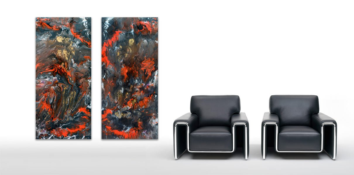 two black chairs and original art