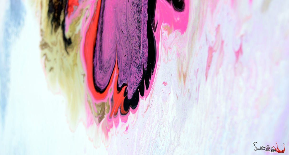 pink and white paint on canvas