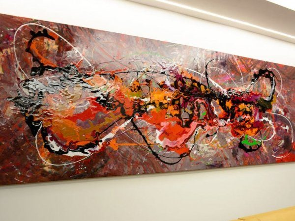 Long and wide abstract painting original