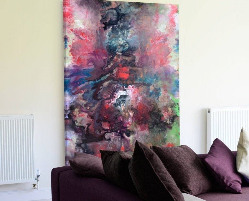 Large original art behind sofa