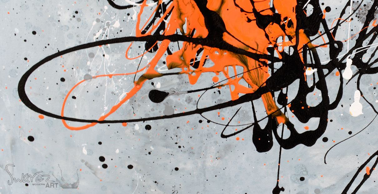 Big Painting Large Orange And Black Abstract Art Now Sold