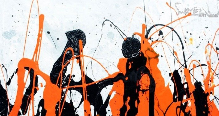 Tall Orange and Black art
