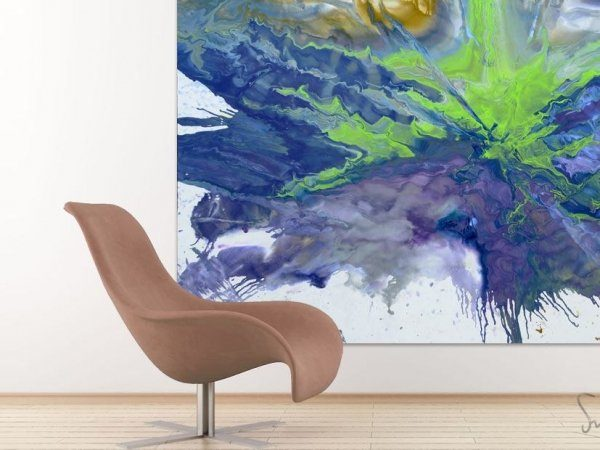 Taupe colored chair and a very big original painting behind it