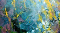 Close-up view of an original multi-coloured abstract painting (1)