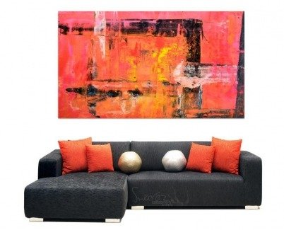 Funky modular sofa and big piece of art hanging above it