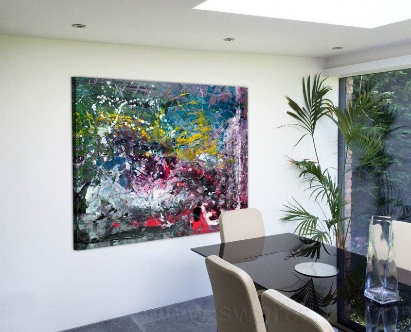 Glass dining table and large art