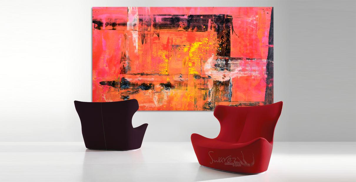 Red and Burgundy modern chairs and a piece of art