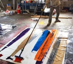 Action painting in a warehouse