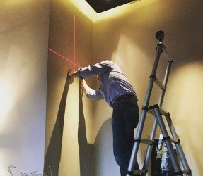 Laser level on a wall