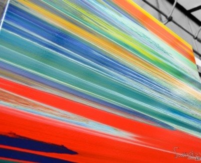 Multi-coloured striped art