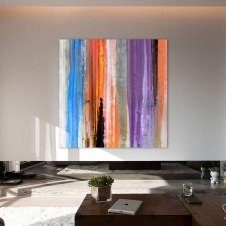 Large square purple and orange art in a contemporary space