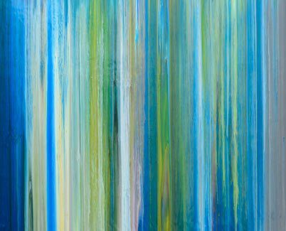Blue and green striped art