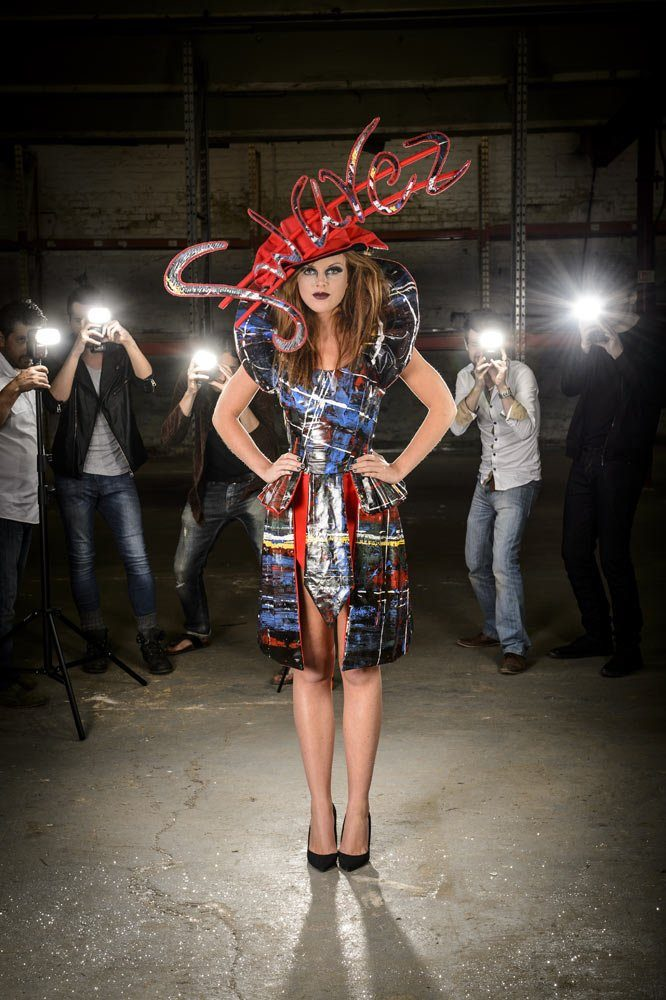 Tartan art dress made from artists canvas and paint