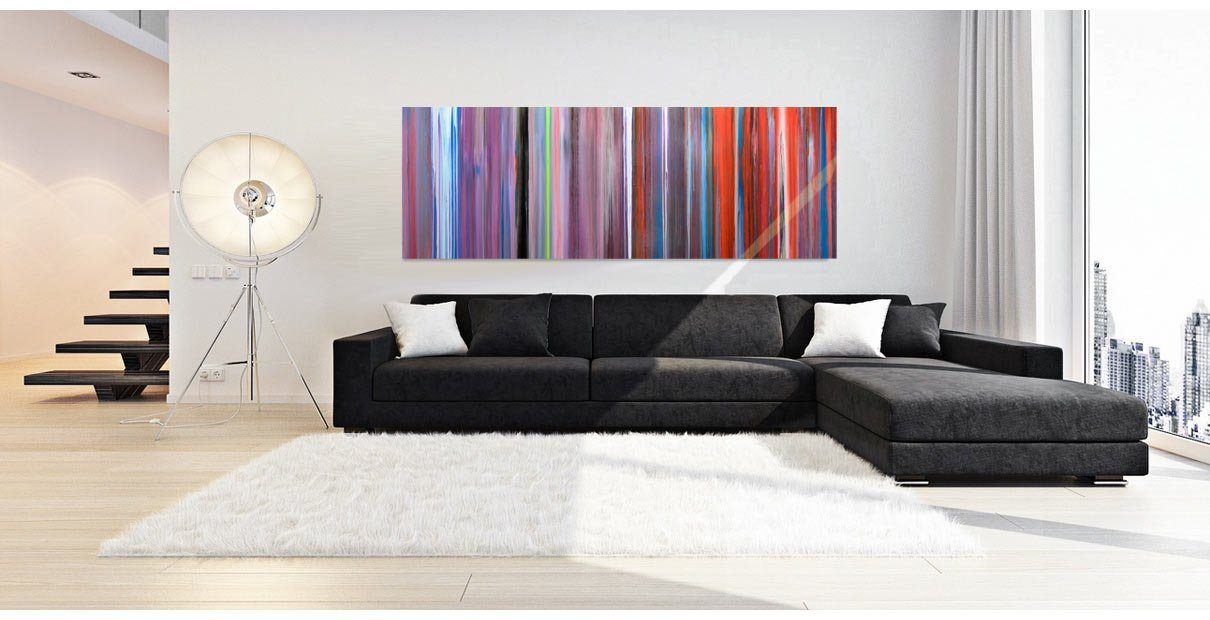 Long striped abstract art in a living room