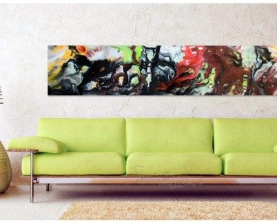 Green sofa and multi-coloured art on the wal