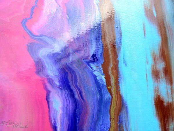 Blue and pink paint on canvas