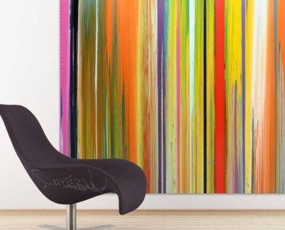 Easy chair and striped art