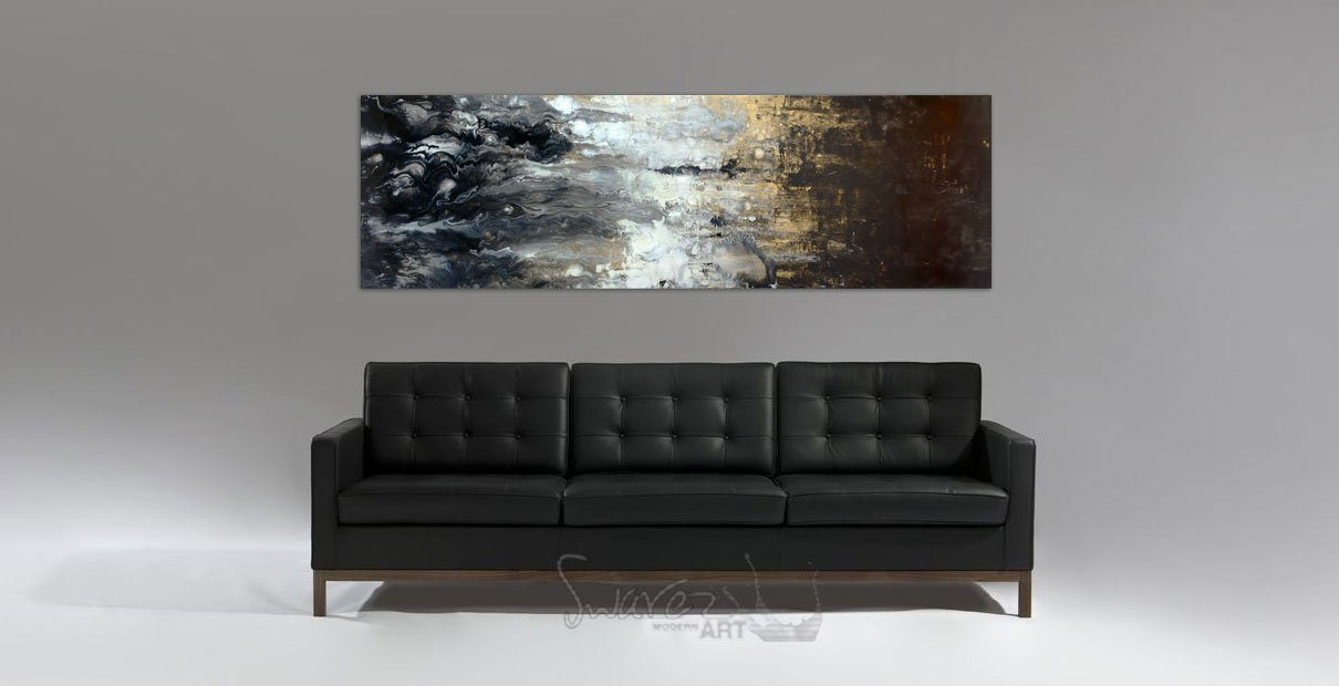 It Never Rains long slimline original art above a leather sofa