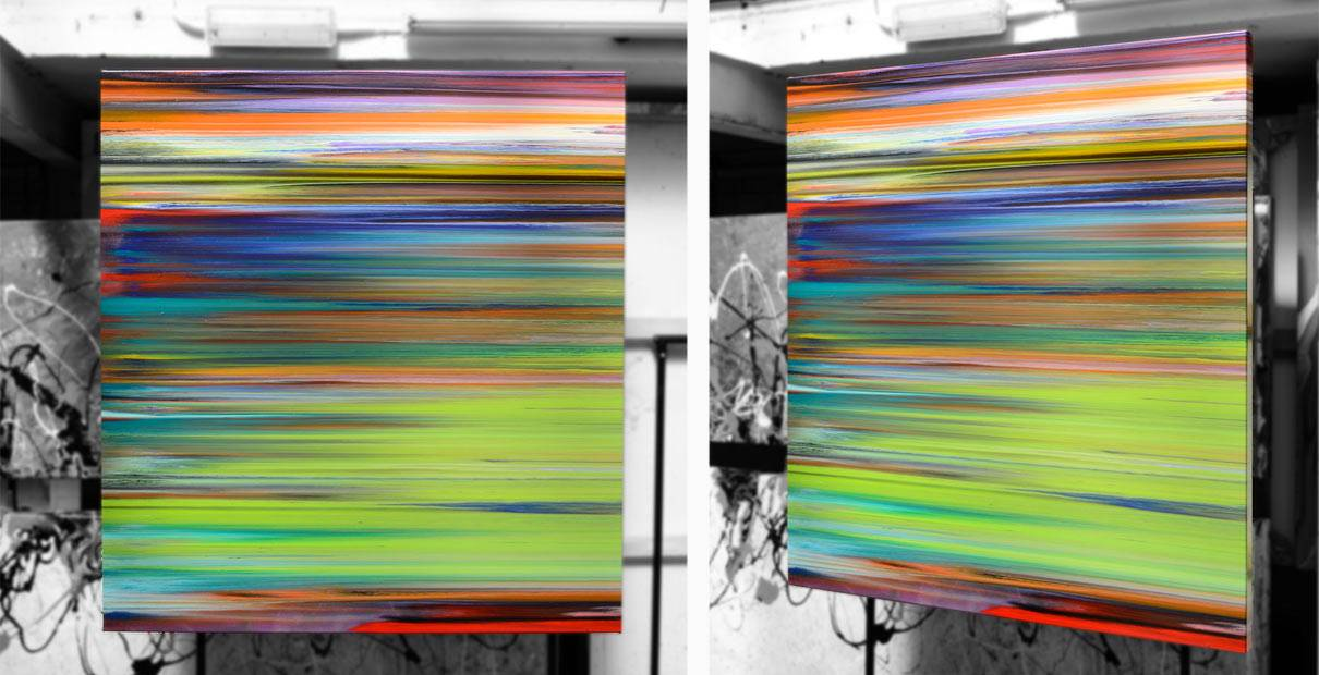 Two orientations of a medium sized stripey painting
