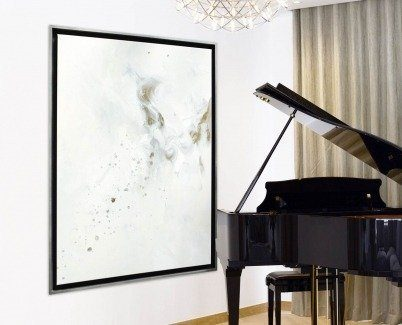 Grand piano with a white minimal painting hung next to it
