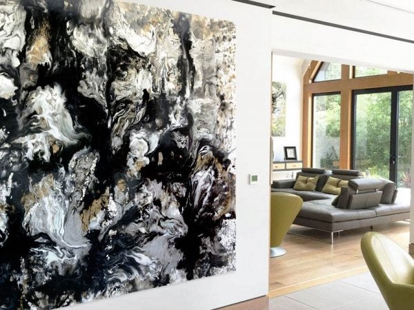 Very large black and white painting