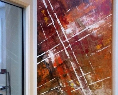 Jump Start rectangular commissioned painting
