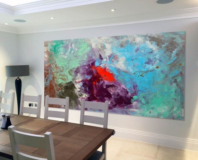 Enormous painting in dining room