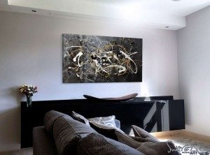 Black-and-grey-abstract-art-in-a-living-room
