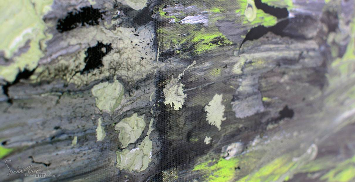 Green and black painting